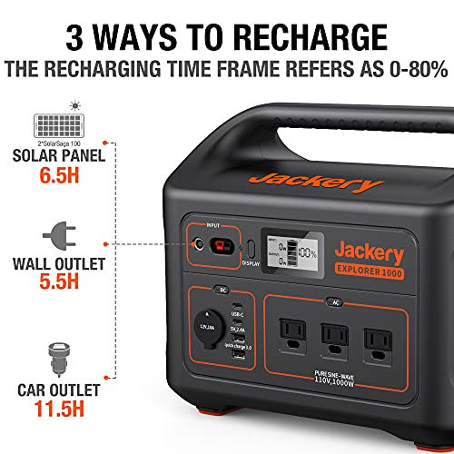 Jackery Portable Power Station Explorer 1000, 1002Wh Solar Generator (Solar Panel Optional) with 3x110V/1000W AC Outlets, Solar Mobile Lithium Battery Pack for Outdoor RV/Van Camping, Emergency