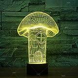 Modelado de la casa de setas Festival de luz nocturna 3D Regalo para niños Sensor Decoración Mesa de luz nocturna Lámpara de mesa moderna