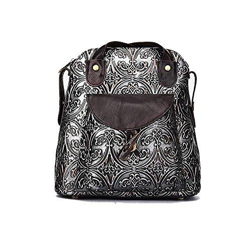 Damen Retro Leder Vintage Rucksack Tasche 2 in 1 Lederrucksack Ledertasche Lederrucksack...