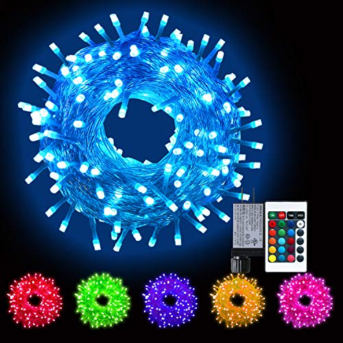 Color Changing Led String Lights Independence Day Decor, Multicolor Christmas Lights with Remote, Waterproof Twinkle Firefly Lights Plug in for Xmas Tree Indoor Outdoor Party Wedding-16 Colors