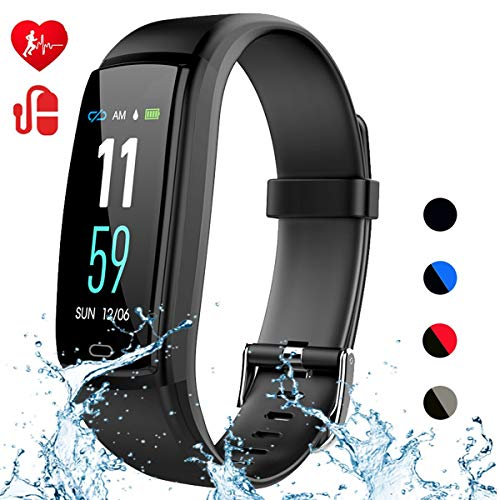 Mgaolo Fitness Tracker,Activity Health Tracker Waterproof Smart Watch Wristband with Blood Pressure Heart Rate Sleep Monitor Pedometer Step Calorie Counter for Fitbit Android and iPhone(Black)