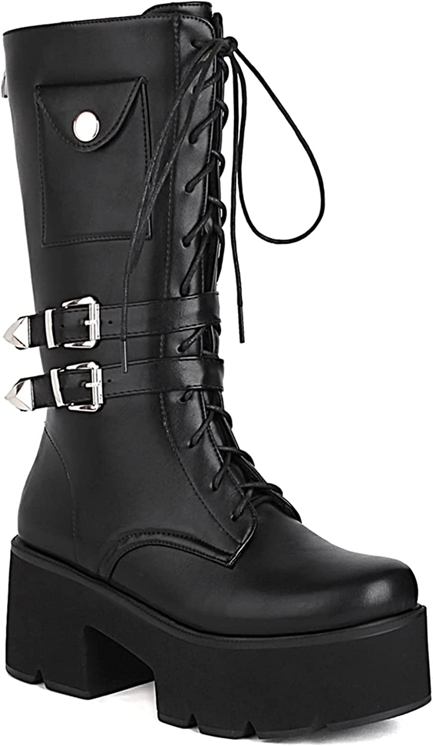WETKISS Women's Mid Calf Goth Boots Thick Platform Chunky High Heel Booties Lug Sole Square Toe Combat Boots Bat Buckle Lace up Back Zipper Shoes
