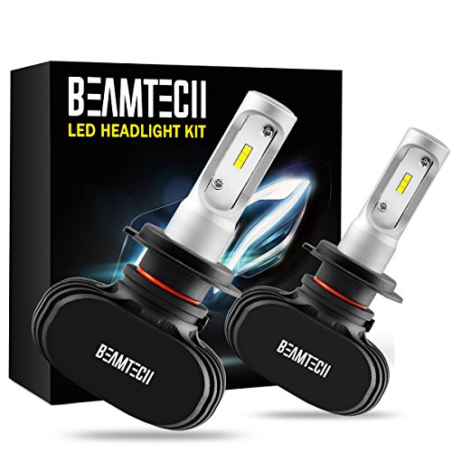 BEAMTECH H7 LED Headlight Bulb,Fanless CSP Chips All in One 50W 8000 Lumens 6500K Xenon White Extremely Bright Conversion Kit of 2