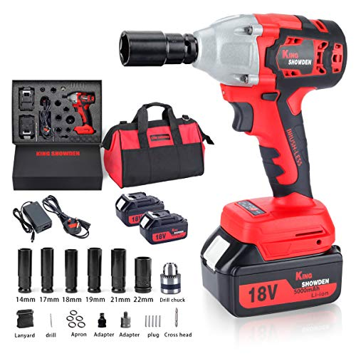 Cordless Impact Wrench with 2 Battery, 18V 5,000mAh Lithium Battery, KINGSHOWDEN Brushless Impact Wrench 520N.M 1/2' Drive, Power Tool, 6 Impact Socket and Power Tool Bag