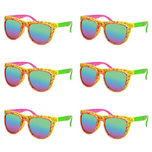 Neon 80s Flip Up Sunglasses - 6 Pack
