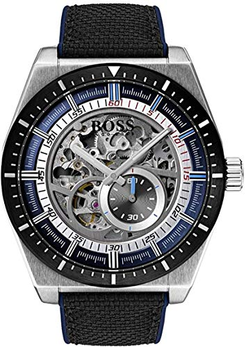 Hugo BOSS Reloj Esqueleto para Hombre de Automático con Correa en Cuero 1513643