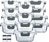 24-Piece Glass Food Storage Containers with Upgraded Snap Locking Lids,Glass Meal Prep Containers...