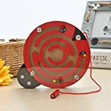 Juego de juguete de madera de laberinto magnético laberinto de laberinto magnético para niños de 3 a 6 años de edad, juego de puzzle de regalo juguetes intelectuales (color: mariquita)