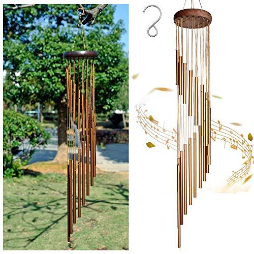 MIRACLE BLACK Klangspiele Glockenspiel Windspiele für den Garten 90cm, 18 Aluminiumlegierung Rohre Wind Bell mit, wetterfeste Geschenk für Gartenterrasse Hinterhof Home Decor Dekoration (Golden)