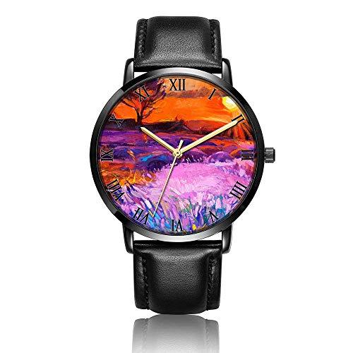 Relojes Anolog Negocio Cuarzo Cuero de PU Amable Relojes de Pulsera Wrist Watches Pintura al óleo