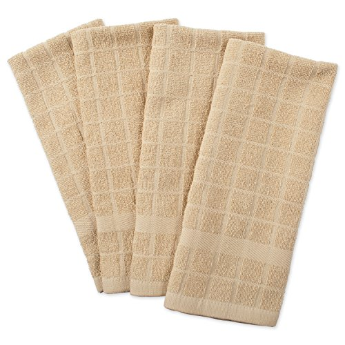 DII Cotton Terry Windowpane Dish Towels, 16 x 26' Set of 4, Machine Washable and Ultra Absorbent Kitchen Bar Towels-Solid Pebble