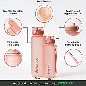 Hydracy Water Bottle with Time Marker - Large 1 Liter 32 Oz BPA Free Water Bottle - Leak Proof & No Sweat Gym Bottle with Fruit Infuser Strainer - Ideal Gift for Fitness or Sports - Rose Gold