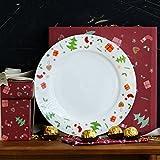 Lhl Plato de Cena de cerámica para la Navidad Platos para Ensalada de Frutas, Postre, Simplemente chirrido Ensalada/Plato de Comida, Platos de Postre, Accesorios para Fiestas, 10 Pulgadas, Redondo c