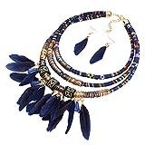 GuDeKe Estilo Boho Colgante de Plumas Multi Capas Babero Tribal Collar Conjunto de joyería Pendiente Pendiente (Azul)