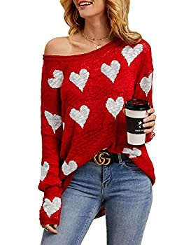 Tutorutor Womens Off The Shoulder Sweaters Oversized Lightweight Long Sleeve Cute Heart Loose Fit Knit Hollow Pullover Blouse Red