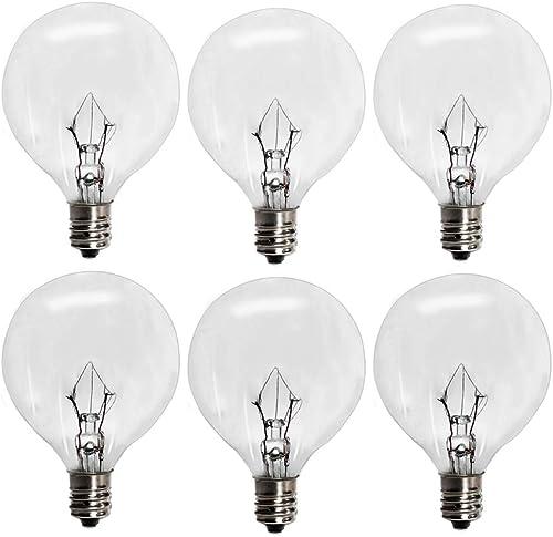 6 Pack Wax Warmer Bulbs,G50 25 Watt Bulbs for Full Size Scentsy Warmers,G16.5 Globe E12 Incandescent Candelabra Base ...