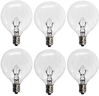 6 Pack Wax Warmer Bulbs,G50 25 Watt Bulbs for Full Size Scentsy Warmers,G16.5 Globe E12 Incandescent Candelabra Base Clear Light Bulbs for Candle Wax Warmer,1.97 Inches,Long Last Lifespan