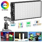 Upgrade/RGB Video Light, 360 ° Full Color LED Camera Light, Dimmable 2500K-8500K Portable Pocket Size Camera Lighting, 12 Lighting Effect Mode, Built-in 3200mAh Rechargeable Battery