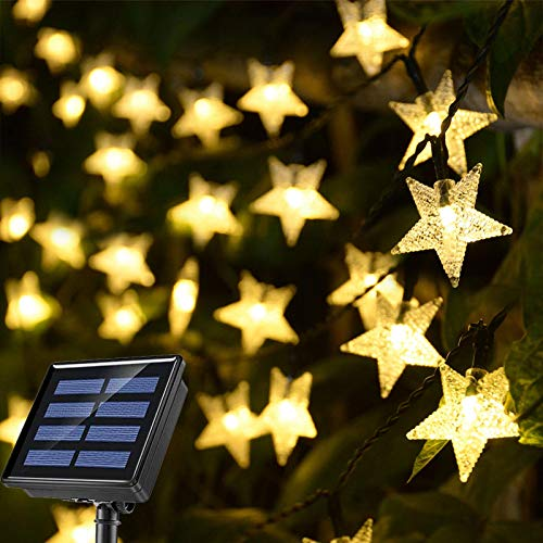 Windpnn 30 Ft 50 LED Solar String Lights Outdoor, 8 Modes Solar Star String Lights Outdoor Garden Lights, Warm White Garden Fairy Lights for Garden Patio Yard Christmas Wedding Birthday Party