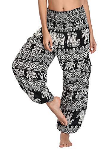 Urban CoCo Women's Smocked Waist Boho Floral Print Harem Yoga Pants (S, 1)