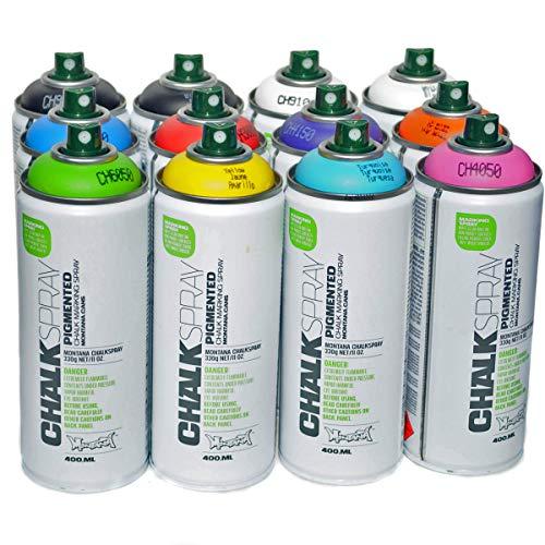 Montana CHALK 400ml Set of 12 Colors Temporary and Washable Aerosol Spray Paint