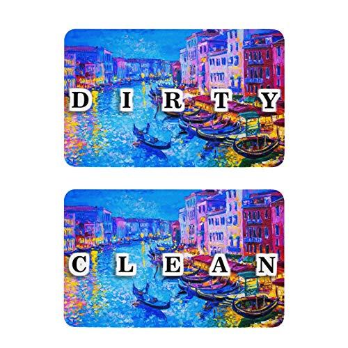 xigua 2 piezas para limpiar el lavaplatos/signo sucio | indicador magnético | recordatorio de lavadora | elimina la confusión | hermosa vista de Venecia barco casas río