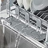 Kingrack abtropfgestell, geschirrabtropfgestell aluminium, geschirrablage mit erweiterbarem geschirrkorb für spüle,becherhalter,Besteckhalterkorb,geschirrabtropfer Anti-Rost für küche arbeitsplatte - 7
