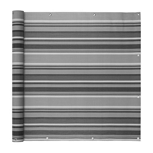 Ventanara Balkonverkleidung Sichtschutz PVC Balkonumspannung Zaun Verkleidung Blende Windschutz Folie 500 x 75 cm Grau gestreift