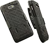 Case with Clip for Droid RAZR-M XT907, Nakedcellphone Black Kickstand Cover + Belt Hip Holster Stand for Verizon Motorola Droid RAZR-M XT907 Phone (and Luge, RAZR-i XT890, XT901)