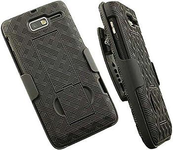 Case with Clip for Droid RAZR-M XT907 Nakedcellphone Black Kickstand Cover + Belt Hip Holster Stand for Verizon Motorola Droid RAZR-M XT907 Phone  and Luge RAZR-i XT890 XT901