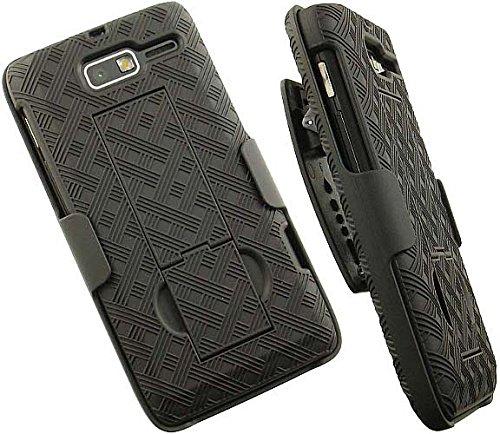 Case with Clip for Droid RAZR-M XT907, Nakedcellphone Black Kickstand Cover + Belt Hip Holster Stand for Verizon Motorola Droid RAZR-M XT907 Phone (and Luge, RAZR-i XT890, XT901)