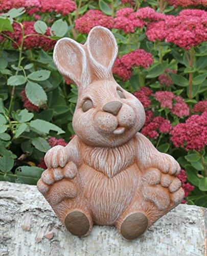Tiefes Kunsthandwerk Steinfigur Hase groß sitzend - Terrakotta, Figur, Deko, Garten, Osterdeko, Osterhase