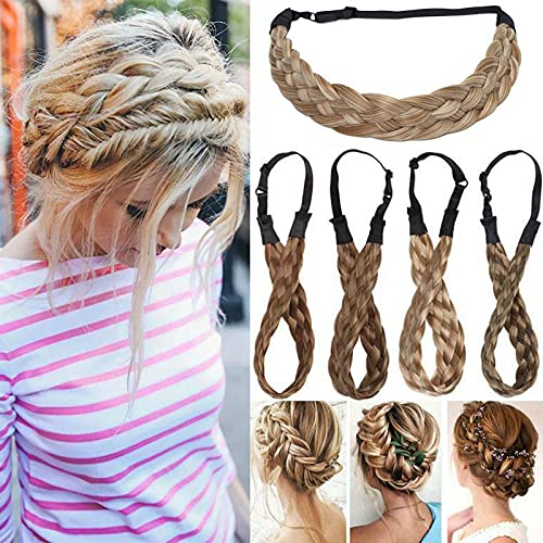 """Extensión Natural del cabello Diadema trenzada Trenza para el cabello Cabello Trenzado grueso Accesorio para el pelo Traje para mujeres Niñas 0.6"""" - Marrón claro"""
