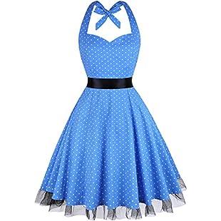 Customer reviews Summer Dresses, OTEN Women Vintage 1950's Floral Halter Neck Rockabilly Swing Dress Blue Dots , XX-Large:Videolink