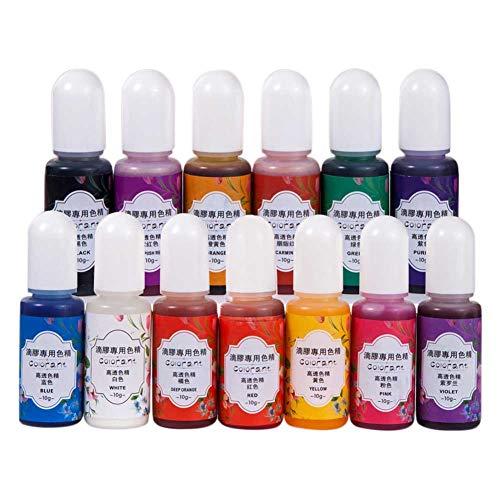 YIAI Kunstharz-Pigmentfarbe, flüssig, schnelltrocknend, Kunsthandwerk, UV-Epoxidharz, handgefertigt, 13 Farben, tragbar, Schmuckherstellung, Farbstoff geruchlos