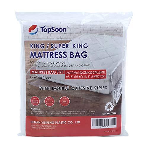 TopSoon King Size Borsa per materassi per Uso Professionale con Doppie Strisce adesive 98,5'x11,8 x75,6 Spessore 75 Micron per l'immagazzinamento e Lo Spostamento del Materasso