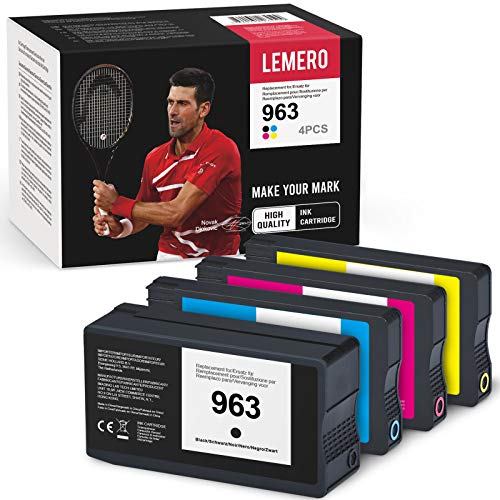 4 cartuchos de impresora remanufacturados LEMERO para HP 963 HP963 compatible para HP OfficeJet Pro 9010 9012 9014 9015 9016 9018 9019 9020 9022 9025