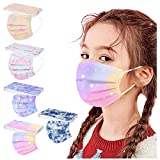 Pack of 50 Disposable Face Masks for Children, 3 Layers with Cartoon Print Design, Colourful Face Covering, Breathable,Children's Accessory, Outdoors, Anti-dust Bandana with Loops