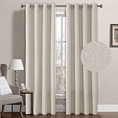 H.VERSAILTEX Classical Grommet Top Room Darkening Thermal Insulated Heavy Weight Textured Tiny Plaid Linen Like Innovated Extra Long Curtains&Drapes,52 by 108 Inch-Ivory(1 Panel)