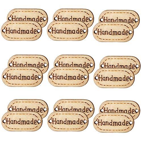 Aweisile Botones 200 piezas Botones Madera Handmade Etiqueta Botones de Madera Handmade Botones Botones Decorativos con 2 Agujeros Accesorios para Manualidades de Costura Decoraciones