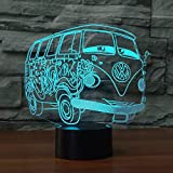 BFMBCHDJ Ilusión visual 3d Camping Bus Night Light Acrílico transparente Led Car 3D Lámpara 7 Cambio de color Touch Table Bulbing Room Lamp