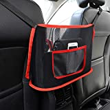 Car Net Pocket Handbag Holder,Seat Back Organizer Mesh,JASSINS Car Storage Netting Pouch,Used to store wallets and document bags (2# -Red)