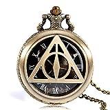 Reloj de bolsillo moderno de Harry Potter y las Reliquias de la Muerte, Señor Voldemort, reloj de bolsillo de cuarzo de cobre retro para hombre