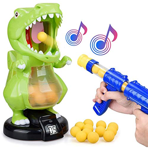 KOVEBBLE Dinosaur Toy Guns for Boys/Girls, Shooting Games with Electronic Target, Party Cool Toys with LCD Score Record, Sound, 36 Soft Foam Balls,for Kids Age 5 6 7 8 9 10+ (Single Gun)
