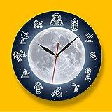 JKXIANSHENG Space Travel Moon Wall Artwall Clock Outer Space Astronaut Round Time Clock Reloj De Pared Ciencia Surreal Galaxy Decoración De Pared 12 Pulgadas