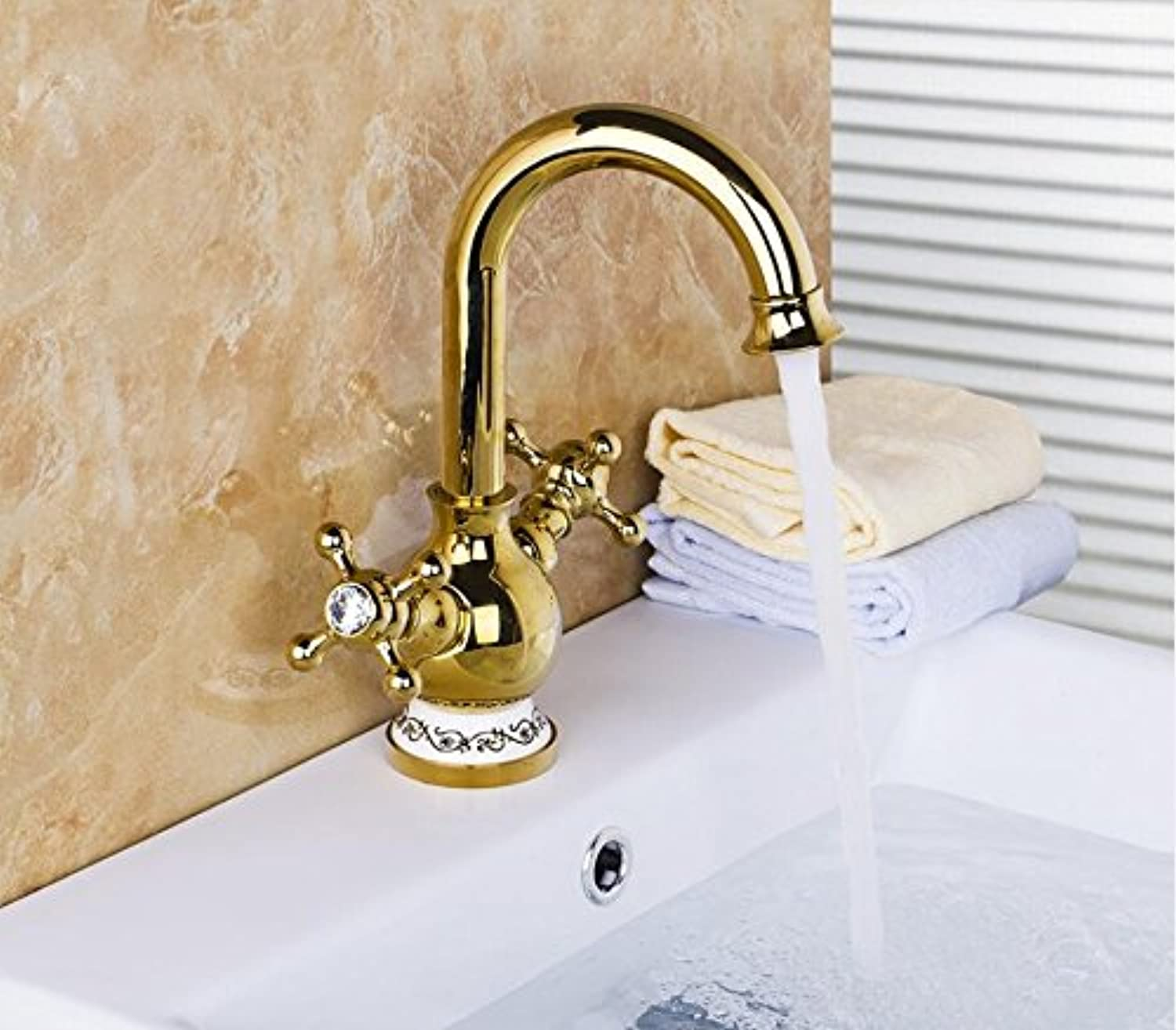 Makej golden Dual Handle Basin Faucet Single Hole Deck Mounted Hot Cold Water Mixer Tap