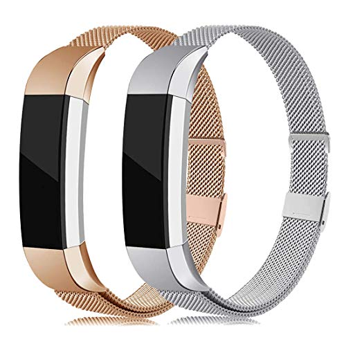 2 Pack Metal Bands Compatible with Fitbit Alta/Alta HR, Stainless Steel Bands Adjustable Accessory Wristband for Alta Bracelet Women Men (Silver/Rose Gold Small)
