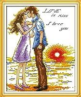 クロス ステッチ DIY 手作り刺繍キット 正確な図柄印刷クロスステッチ 家庭刺繍装飾品 夕日にキス 40x50cm