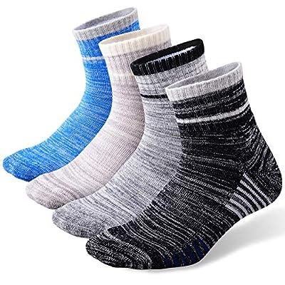 Men's Hiking Walking Socks, FEIDEER 4 pack Wicking Cushioned Outdoor Recreation Crew Socks (TJ-2-4MS18104-L)
