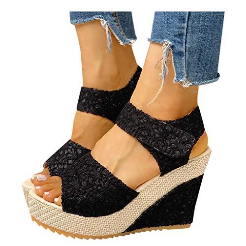 Aniywn Women Espadrilles Platform Wedges Heel Lace Up Sandals Elegant Floral Classic Ankle Strap Shoes Black